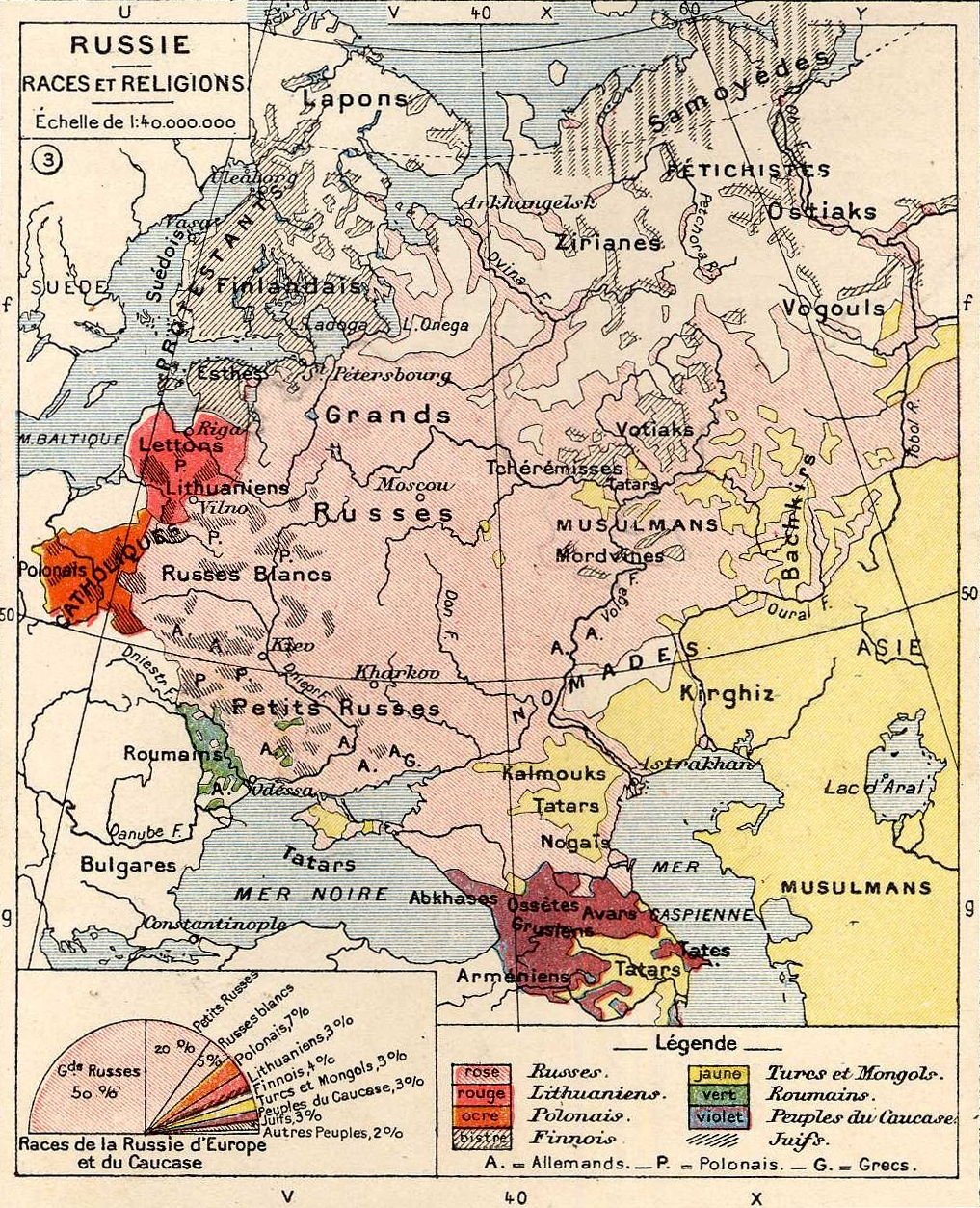 european russia 1898 races and religions map